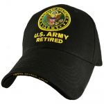 US Army Ballcap - Retired with Army Seal and Embroidered Letters - Gold on Black
