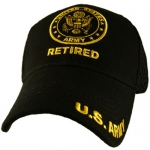 US Army Ballcap - Retired with Seal and print on brim and mesh back - Gold on Black