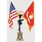 "U.S. Marines Decal - 5.2"" - USMC/US Flag Fallen"