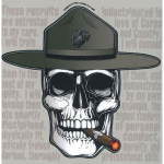 "U.S. Marines Decal - 5"" x 5.25"" - DI Skull w/Cigar"
