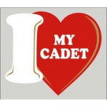 "Assorted Decal - 4"" x 4.5"" - ""I Love My Cadet"""