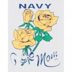 "U.S. Navy Decal - 3"" x 4"" - ""Navy Mom"" w/ Roses"