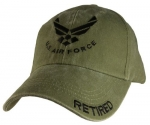 USAF Ballcap - Retired - U.S. Air Force w/ Wings - OD