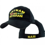 Veteran Ball Cap - Vietnam with 3 Ribbons - Black