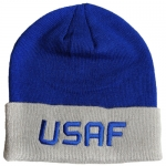 USAF Watchcap - Grey and Blue with Blue Embroidered Letters