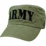 US Army Flattop Cap - Black ARMY Letters on Olive Drab Cap