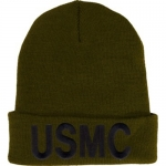 USMC Watch Cap - OD cap with Embroidered Black Text