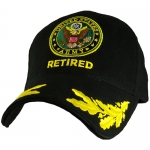 US Army Ballcap - Retired with Army Seal and Eggs on Brim - Gold on Black