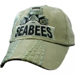 US Navy Ballcap - Seabees with Bulldozer - Olive Drab