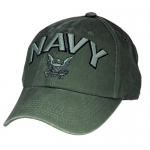 US Navy Ballcap - 3d Text with Logo - Olive Drab