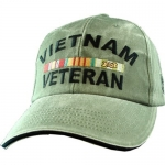 Veteran Ball Cap - Vietnam with 3 Ribbons - Olive Drab