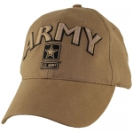 US Army Ballcap ARMY Letters with Army Star - Coyote Brown