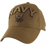 US Navy Ballcap - 3D Logo with Letters - Coyote Brown