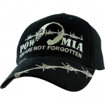 "Assorted Ballcap - POW/MIA ""You Are Not Forgotten"" Black Cap with Barbed Wire"