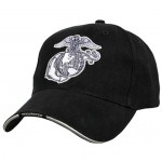 USMC Ballcap EGA Eagle Globe Anchor - White Embroidery on Black Cap