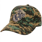 USMC Ballcap EGA Eagle Globe Anchor on Woodland Digital Cap