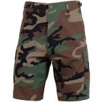 BDU Shorts - Woodland Camo - 100% Cotton Ripstop