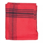 Navy-Striped Red Wool Blanket - 70% Wool/30% Synthetic