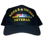 Veteran Ball Cap - Korea and Vietnam with 5 Ribbons