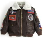Kid's Jacket - A-2 Bomber - 9 Patches - Brown