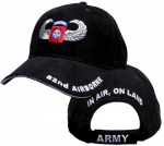 US Army Ballcap - 82nd Airborne with Wings - Black