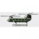 "U.S. Army Decal - 7"" x 2.5"" - ""Chinook"" Helicopter"