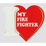 "Firefighter Decal - 4""x4.5"" I Heart My Firefighter"