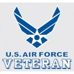 "U.S. Air Force Decal - 3.5"" x 3.25"" - Vet w/Wings"