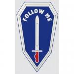 "U.S. Army Decal - 5"" - ""Follow Me"" Shield w/Sword"