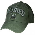 US Navy Ballcap - Retired with Letters and Logo - Olive Drab