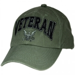 US Navy Ballcap - Veteran 3D Logo with text - Olive Drab