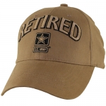 US Army Ballcap - Retired with Army Star - Coyote Brown