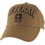US Army Ballcap Veteran 3D Letters with Army Star - Coyote