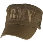 US Army Flattop Cap - ARMY Letters on Washed Coyote Brown