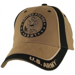 US Army Ballcap Letters on Brim with Army Seal - 2 Tone - Coyote and Black
