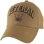 US Navy Ballcap - Veteran with Logo and Letters - Coyote Brown