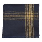 Mustard-Striped Navy Wool Blanket 55%