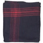 Red-Striped Navy Blue Wool Blanket 70% Wool/30% Synthetic